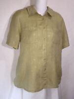 FLAX Jeanne Engelhart Natural Textured Linen Button Front Tunic Top Shirt Sm S
