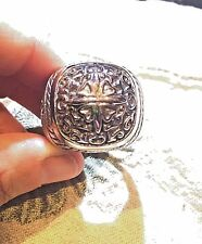 Vintage Large Silver Stainless Steel Cross Crest Size 13 Men's Ring