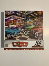 Master Pieces Wheels 750 Pc Jigsaw Puzzle Hot Rods Muscle Cars Route 66 & Poster