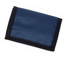 Nylon Trifold Velcro Wallet W/1 Clear Id Pocket - Navy Blue