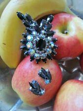 Vintage LOT Retro Black  Rhinestones Aurora Borealis Pin Brooch Clip on Earrings