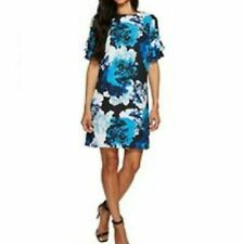 NEW CeCe Tiered Ruffle Sleeve Women Size 2 Blue White Floral Bouquet Shift Dress