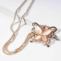 Schmetterling Gold Halskette Rose Opal Anhänger Kette Jewelry Schmuck