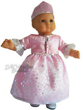 """Princess Gown Dress Costume Pink Glitter for 15"""" Bitty Baby + Twins Doll Clothes"""