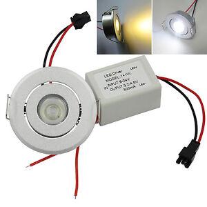 1W Ceiling Down Light  Recessed LED Bulb+Driver DC 12V-24V Spotlight Warm/White