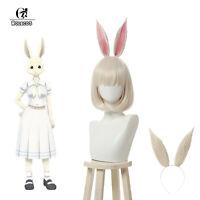 Beastars Haru Cosplay Wigs Bunny Rabbit Cosplay Wig with Ears Short Bobo Hair