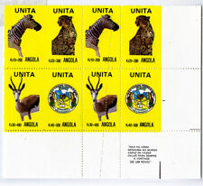 Angola Stamps Unita Wildlife Error Block of 8 Striking mis-perf/impf