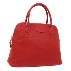HERMES BOLIDE 31 2way Hand Bag T HA 001 HF Red Taurillon Clemence Auth 03371