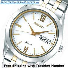 SEIKO SPIRIT SBPX085 Solar Analog Silver Gold White Men's Watch Made in Japan