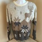 Le Tigre Womens Crewneck Sweater Wool Blend Nordic Lites Winter Reindeer Medium