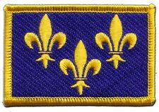 Écusson brodé drapeau France Île-de-France Fleur-de-Lys francilien 5x8cm Thermoc