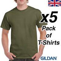 Mens Military Green T Shirt 5 Pack Gildan Heavy Cotton Tee Army Plain Cheap SAS