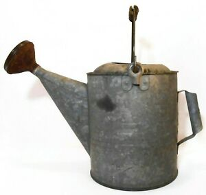 EARLY 20TH C VINT AMERICAN GALVANIZED STEEL WATERING CAN, W/COPPER SPOUT, HANDLE