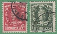 Italy Driver License Revenues Bft #8-9 used wmk stars no imprint 1956 cv $19