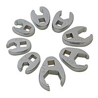 """Sunex 9708 3/8"""" Dr. 8 Pc. Fully Polished SAE Flare Nut Crowfoot Wrench Set"""