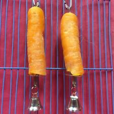 2 Small Animal Toy Metal Stick Bell ONLY Treat CARROT Veg Holder Boredom Breaker
