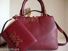Michael Kors Florence Claret Leather Small Satchel Bag + Med Tri-Fold Wallet NWT