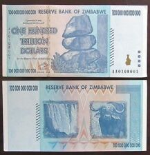 2008 Zimbabwe One Hundred Trillion Dollars Single Banknote, UNC, Authentic