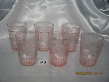 Set ~ 6 Mayfair Open Rose Pink Flat Water Tumblers~Glasses 1931-1937 Excellent