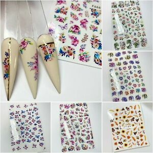 Nail Art Stickers Floral Rose Metallic Marble Butterfly Stars Leaves Print