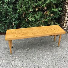 "Vintage Cribbage Wood Game Board Coffee Table Mid-Century Modern 41"" Crib"
