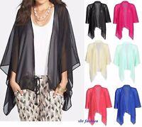 NUEVO de Mujer Señora Liso Chifón Chaqueta Kimono Bolero Abierta Cascada Tops