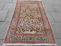 Antique Hand Made Traditional Vintage Rugs Oriental Wool Cream Rug 220x137cm