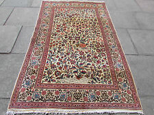 Antique Hand Made Traditional Persian Rugs Oriental Wool Cream Rug 220x137cm