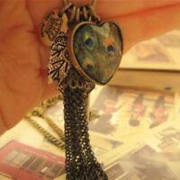 New  Vintage Tassel Long Chain Key Pendant Jewelry Peacock Heart Leaf Necklace