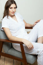 Cottonreal 'Ada' Ladies White Cotton Cap Sleeve Pyjama Set with Daisy Embroidery