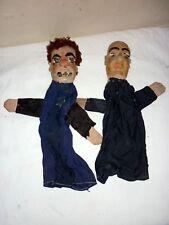 Paire de Marionnette Ancienne en bois À Gaine Des Guignols Lyon XIX à restaurer