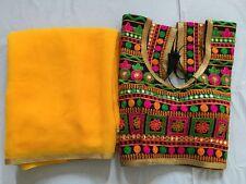 indian kutc SARI EMBROIDERY READYMADE CHOLI blouse pure yellow Georgette saree