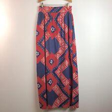 Vtg 70s Womens Handmade High Waist Maxi Skirt Red White Blue Paisley Floral