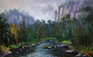 Original oil painting moody morning Carnarvon Gorge QLD by Chris Vidal