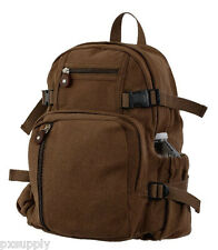 backpack brown canvas mini size vintage look adjustable straps rothco 9743