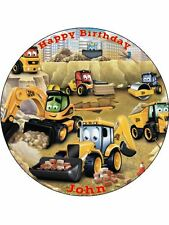 "JCB Diggers & Tractors - 7.5"" Rice Paper Birthday Cake Topper"