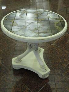 Mid Century Eglomise Mirror Panel Hollywood Regency Table with Ram Hoof Legs