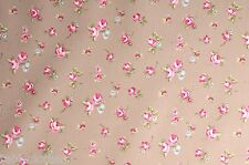 "1m/39"" rosebud taupe wipe clean oilcloth pvc cotton fabric cover TABLE CLOTH CO"