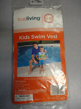 "True Living KIDS Sturdy Vinyl Inflatable SWIM VEST! 17"" x 12""! Ages 3-6"
