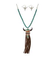 SERAPE<~>SANTA FE Steer Head Cow Beaded Leather Tassel Necklace Turquoise Set