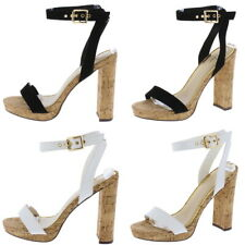 Open Toe Ankle Strap Cork Tall Block Chunky High Heel Platform Sandals Size H239