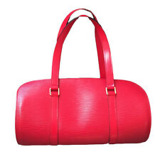 Authentic Louis Vuitton Red Epi Leather Soufflot Bag
