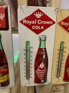 Vintage Royal Crown RC Metal Thermometer Sign Embossed Bottle MINTY-1960's