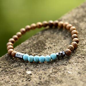 6mm Natural Turquoise Wood Beads Hematite Charm Elastic Strand Unisex Bracelets