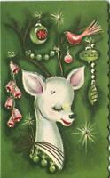 VINTAGE CHRISTMAS WHITE DEER BUCK STAGE EMBOSSED ORMANENTS GREEN PINK BIRD CARD