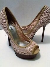 BEBE WOMEN'S TAN CANVAS PLATFORM STILETTO OPEN TOE PUMP SHOES SIZE 7 MEDIUM