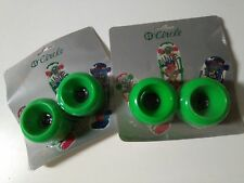 4 x VINTAGE CIRCLE GREEN SKATEBOARD WHEELS IN BLISTER - OLD SCHOOL - NOS - VERDE