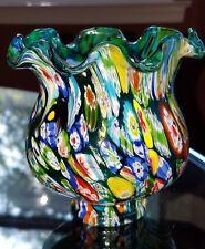 Vintage Murano Millefiori Glass Lamp Shade Trumpet Shade Amazing Colors Italy