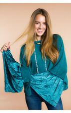 NEW FREE PEOPLE Women Sleeve Glorious Sleeves Pullover Bell  Washed Turquoise XS