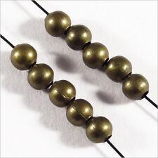 Lot de 100 perles Rondes 4mm en Métal couleur Bronze